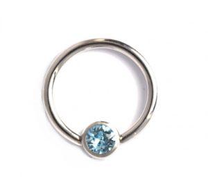 Aqua Crystal Disc Captive Ring