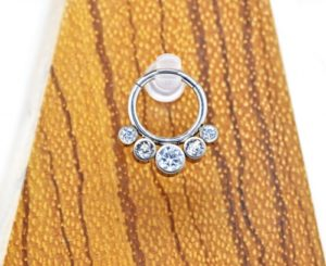 _clear crystal zirconia 5stones segment ring