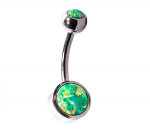 inchy's Olive Green Cabochon Opal Navel Bar